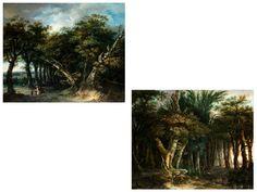Gemäldepaar LANDSCHAFTEN Öl auf Eichenholz. 76 x 90 cm. Signiert im unteren dunkleren Bereich. Höfisches Reiterpaar bei der Jagd in einem Waldstück sowie...