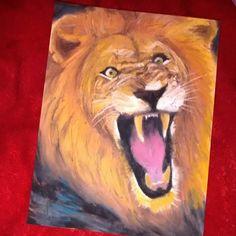 My very own oil pastel Lion :)  Did it all by myself. A krisdeviant original ME! lol im proud of myself