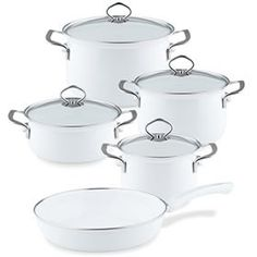 Reduced saucepan sets- Reduzierte Kochtopf-Sets Riess Nouvelle Arctic White cookware set made of enamel cookware – RiessRie - Enamel Cookware, Cookware Set, Ceramic Tableware, Glass Ceramic, Microwave Steamer, Crockery Set, Kitchen Time, Gas And Electric, Gourmet