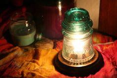 Hemingray 16 Insulator Night Light / Desk Lamp, Beautiful Bubbled Aqua with Amber Swirl