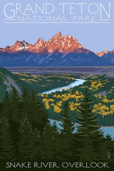 Print (Grand Teton National Park, Wyoming - Snake River Overlook - Lantern Press Artwork)