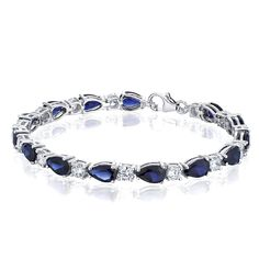 Created Sapphire Bracelet Sterling Silver Rhodium Nickel Finish Tear Drop 13.00 Carats * Want to know more, click on the image.