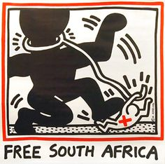 Free South Africa Haring's famed image for the Anti-Apartheid movement, a classic of his work and the 1980's. Email us to inquire about this poster: gail@vintagepostersnyc.com