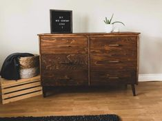 This dresser was for a special friend of mine! They were redoing their master bedroom, and she wanted a mid century style dresser. Normally I don't travel too f… Pink Dresser, Dresser With Mirror, Vintage Dressers, Old Dressers, Laundry Basket Dresser, Relaxing Master Bedroom, Diy Dresser Makeover, Furniture Makeover, Leather Drawer Pulls