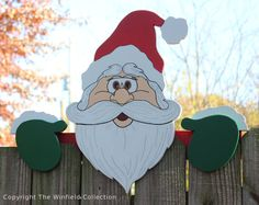 Santa Fence Topper Christmas by DadandSonsWW on Etsy