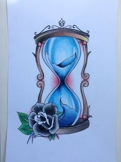 Hourglass tattoo design. Colored pencil by TheDilatedEye