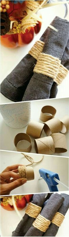 DIY Napkin Rings; but, make them much more Glam with crystals, etc.!  Add little wooden letters or little things