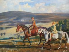 """""""Tom and Luke Parsons on their Ponies, Champagne and Squirrel, Exmoor"""", by AJ Munnings"""
