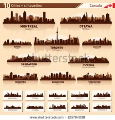 City skyline set. Canada. Vector silhouette illustration. by YurkaImmortal, via Shutterstock