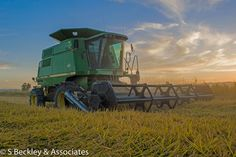 Rice harvest in the evening in Arbuckle, CA area.