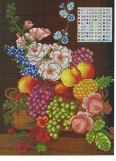 Gallery.ru / Фото #25 - Фрукты, овощи, натюрморт - radost68 Cross Stitch Fruit, Cross Stitch Kitchen, Cross Stitch Rose, Cross Stitch Flowers, Funny Cross Stitch Patterns, Cross Stitch Charts, Cross Stitching, Cross Stitch Embroidery, Diy Finger Knitting