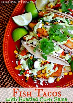 Fish Tacos with Roasted Corn Salsa | @Trish - Mom On Timeout