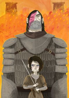 Arya and Hound | Bottleneck Gallery Game of Thrones Artwork | The Mary Sue
