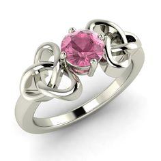 Valentine Day Special Pink Tourmaline Solitaire Knot Ring in 14k White Gold - Genuine Gemstone