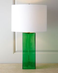 Glass+Base+Table+Lamp+at+Horchow. I really like Kelly green. If it works with the ultimate color scheme, I'd love to see a touch of Kelly green here and there