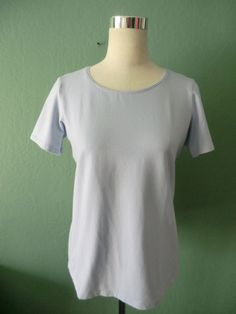 NEW EILEEN FISHER PALE LAVENDER STRETCH ORGANIC SHORT SL COTTON TEE TOP USA M #EileenFisher #KnitTop #Casual