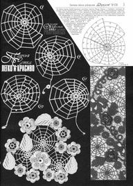 Russian Crochet Patterns With Charts | spiderweb doily - freeform, charted, russian, lace, irish crochet