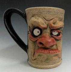 Grumpy Monday Morning Mug- Face Mug http://www.etsy.com/listing/152830933/grumpy-morning-mug-face-mug?
