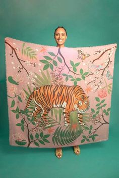 Tiger Blossom Wool & Silk Blend Scarf – Karen Mabon Ltd Linocut Prints, Art Prints, Block Prints, Paisley Design, Paisley Pattern, Mabon, Silk Art, Scarf Design, Chalk Pastels