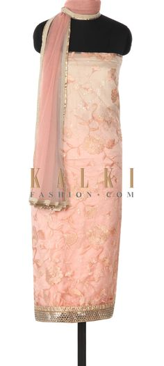 Buy this Peach unstitched suit adorn in resham and sequin only on Kalki