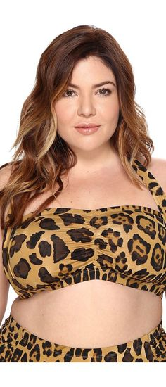 LAUREN Ralph Lauren Plus Size Leopard Retro Halter (Brown) Women's Swimwear - LAUREN Ralph Lauren, Plus Size Leopard Retro Halter, LR7DP89W-BRO, Apparel Top Swimwear, Swimwear, Top, Apparel, Clothes Clothing, Gift, - Street Fashion And Style Ideas
