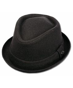 b23e649f Mens Crushable Wool Felt Solid Black Fedora Hat W/band F1676BK CY1251HDSOX.  Hats & Caps ...