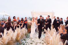 I love this pampas grass aisle decor. Metal or wooden boxes contain the grass fronds with a moss base. Very soft and luxurious with the rose petal application. Great for beach, meadow filled w/grasses.