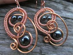 NEW & IMPROVED!!!: Hematite Copper Wire Spiral by TheHempChick, $20.00