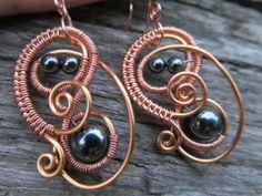 NEW & IMPROVED!!!: Hematite Copper Wire Spiral by TheHempChick, $20.00