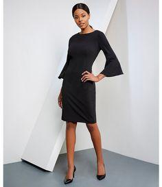 b6900eded211c Calvin Klein Bell Sleeve Sheath Dress Calvin Klien, Classic Black Dress,  Dress Up Outfits