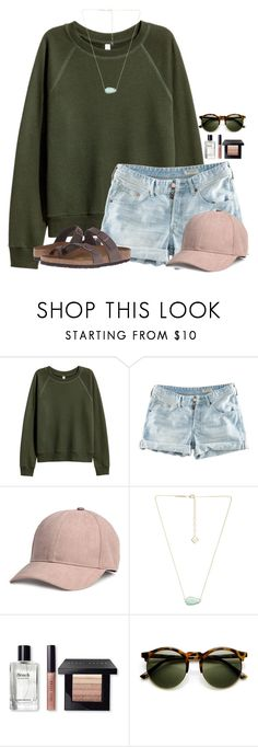"""~I love blush~"" by flroasburn ❤ liked on Polyvore featuring H&M, Kendra Scott, Bobbi Brown Cosmetics and Birkenstock"