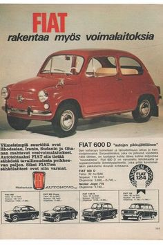 Apu Our family had red and then white Fiat Fiat 600, Fiat 500 Pop, Fiat Cars, Old Commercials, Car Brochure, Good Old Times, Car Advertising, Retro Cars, Vintage Ads