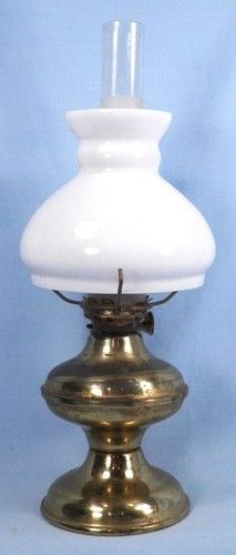 Vintage Goldtone Miniature Lamp with White Shade Frosted Chimney | eBay