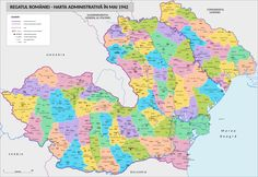 WWII administrative map of Romania (Europe, Romania, World Wars) Romania Travel, Fantasy Map, Old Maps, Us Map, Historical Maps, World History, Bulgaria, Ancient History, Wwii
