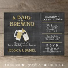 A Baby is Brewing Brewery Baby Shower Invitation guy by greylein