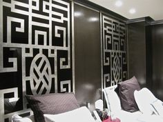 Two oversize eglomise panels in Chinoise-Deco style, by Simes Studios