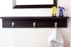 Items similar to Three Hook Coat Rack with Shelf - Ledge Shelf - Hook Shelf - Home Decor - Wood Shelf - Kid's Room Organizer - Bedroom - Entryway on Etsy Shelf Hooks, Ledge Shelf, Coat Rack Shelf, Corner Shelf, Pallet Shelves, Rustic Shelves, Wooden Shelves, Wood Shelf, Ceiling Shelves