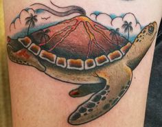 Volcano Turtle by Jared at Mid-Pacific Tattoo in Lahaina Maui