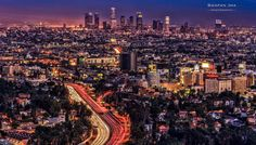 The Hollywood Bowl Overlook (named because you can see the Bowl under you), was built for the 1984 Los Angeles Olympics.  This is the classic shot of the Hollywood Freeway with the Los Angeles skyline in the background.