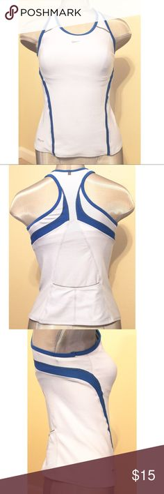 NIKE DRI-FIT Light & Dark Blue RACERBACK TANK TOP Preowned. Has a bra made into the shirt. Has two pockets in the back of the shirt. Nike Tops Tank Tops