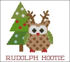 Christmas Hootie 003 Rudolph : MiniCrossStitch, The World of Small Stitchery