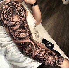 tattoo old school tattoo arm tattoo tattoo tattoos tattoo antebrazo arm sleeve tattoo Tiger Tattoo Sleeve, Lion Tattoo Sleeves, Arm Sleeve Tattoos, Head Tattoos, Back Tattoos, Tattoo Sleeve Designs, Forearm Tattoo Men, Tattoo Designs Men, Body Art Tattoos