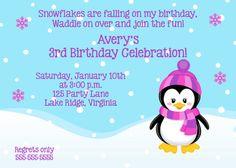 Printable Penguin Girl Birthday Invitation by NoteworthyPrintables