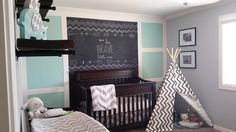 CHALKBOARD FEATURE WALL Aqua, teal and grey nursery with chevron pattern (zig zag). The tee-pee in this baby's room is fun. The chalkboard wall is also magnetic by using magnetic primer.
