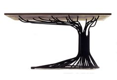 Tree-Inspired Table Features Steel Branches, Trunk & Roots