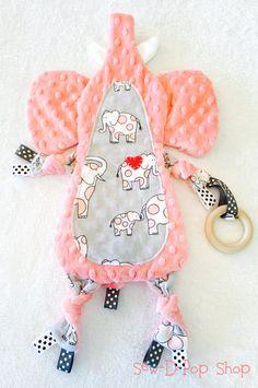 Elephant Mini Animal Lovey Blanket Pacifier Wooden by SewDPopShop