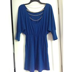 Charlotte Russe dress with metal linked back Charlotte Russe half sleeve dress. Metal chained back. Very cute design and light weight. Condition: Like new, only been worn once or twice. Charlotte Russe Dresses