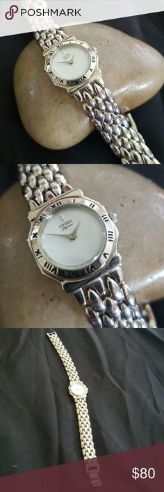 Ladies silver Citizen watch. Mother of pearl dial ladies Citizen watch. It's silver bracelet style and simply elegant. Citizen Accessories Watches
