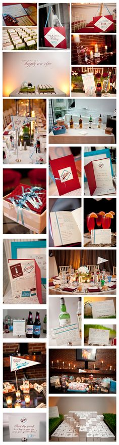 """Top right pic: cute for reserving a front pews Also like the """"Seventh inning sweets"""" pennant on bottom left."""