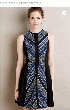at anthropologie Pyramid Flare Dress Simple Dresses, Casual Dresses, Fashion Dresses, Dresses For Work, Model Dress Batik, Modern Batik Dress, Blouse Batik, Batik Blazer, Batik Fashion